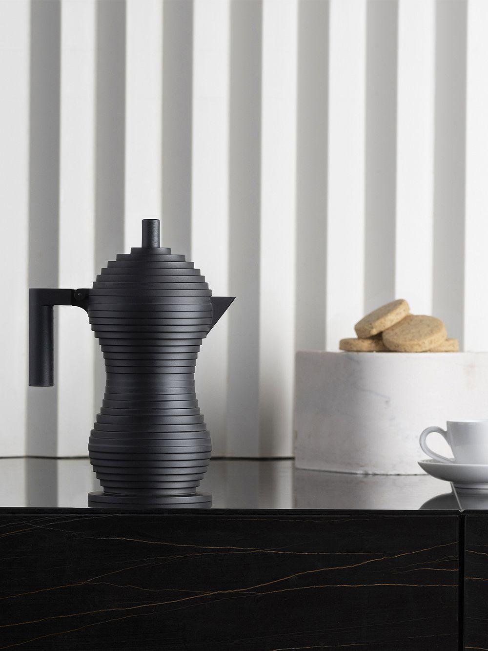 Alessi Pulcina espresso coffee maker, 3 cups, black