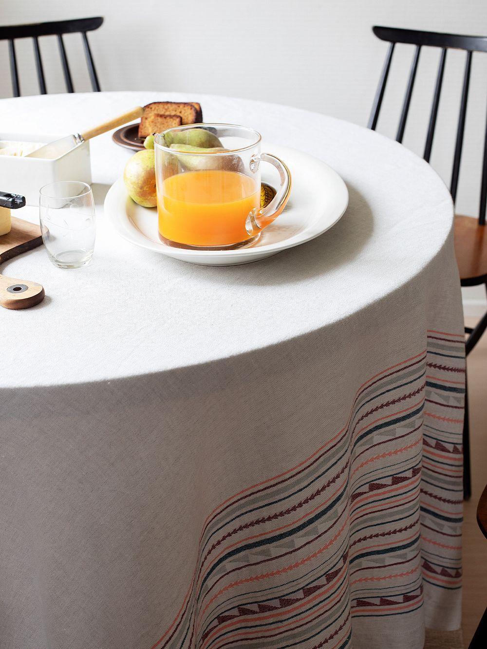 Lapuan Kankurit Watamu tablecloth/throw, 150 x 260 cm, grey - bordeaux