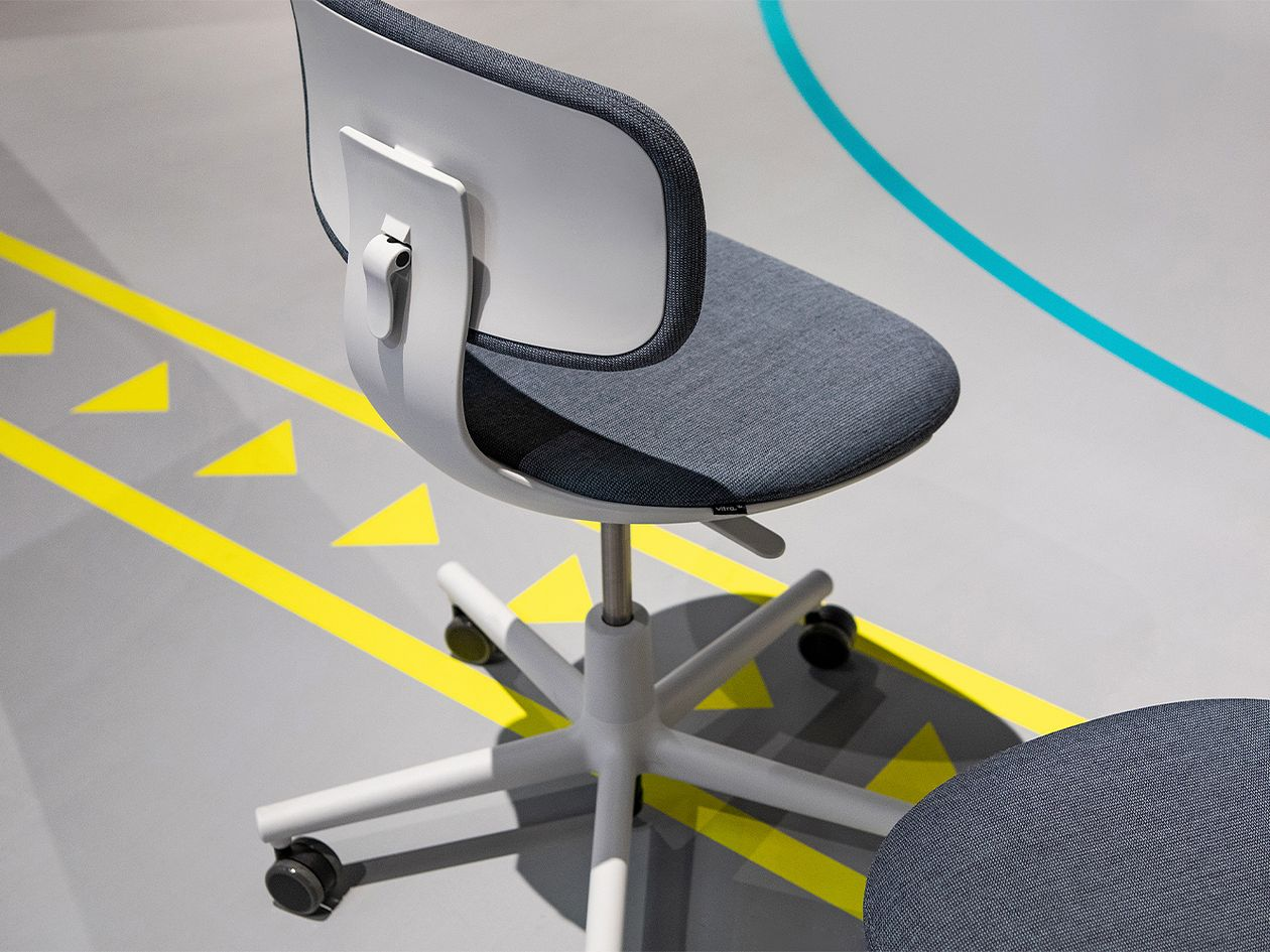 Vitra Rookie task chair, blue grey melange - light grey