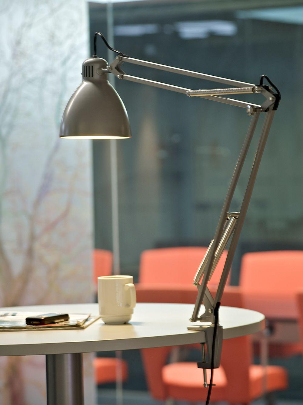 Luxo L-1 desk lamp, aluminium grey