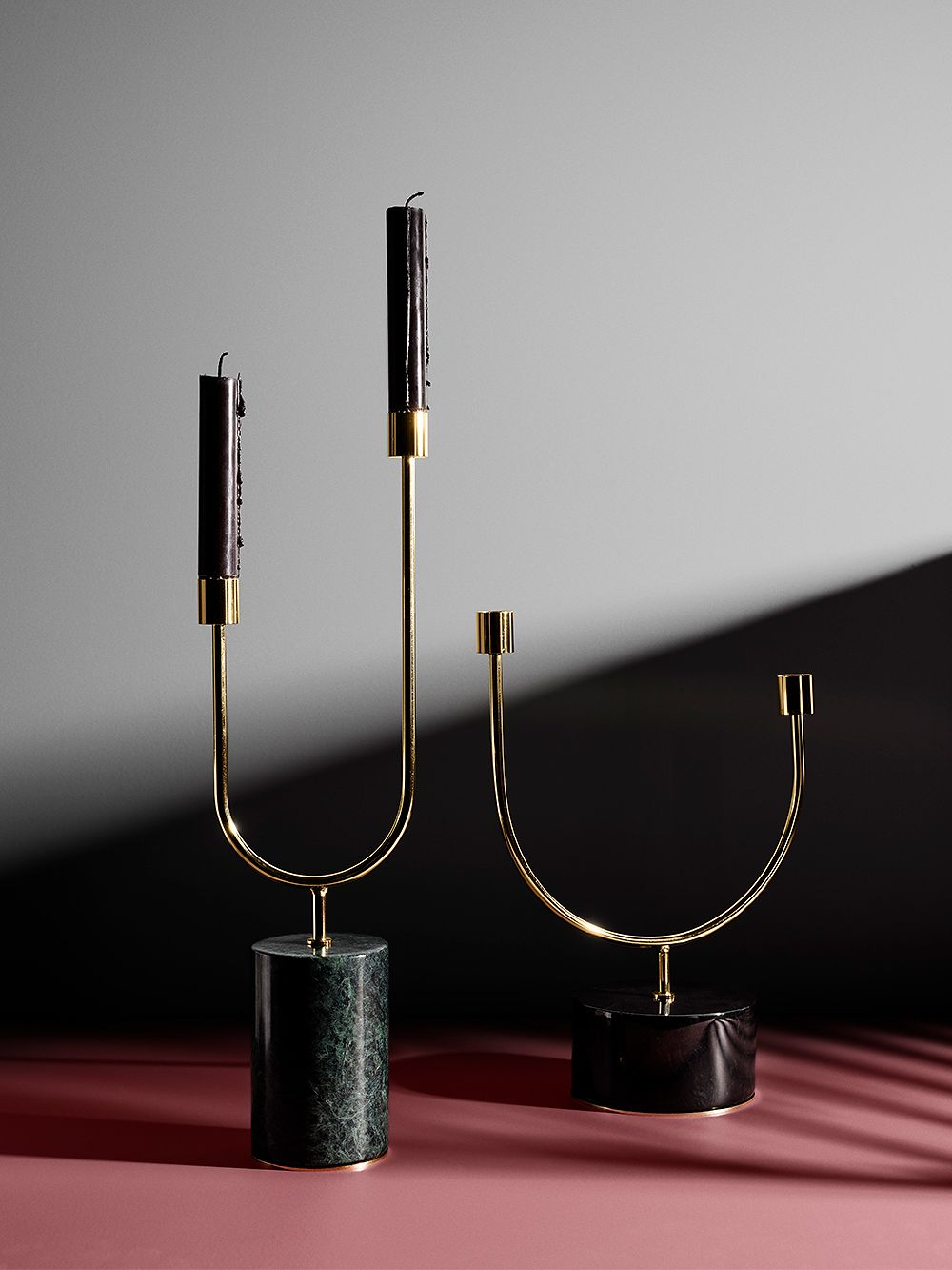 AYTM's Grasil candleholders in brass and marble