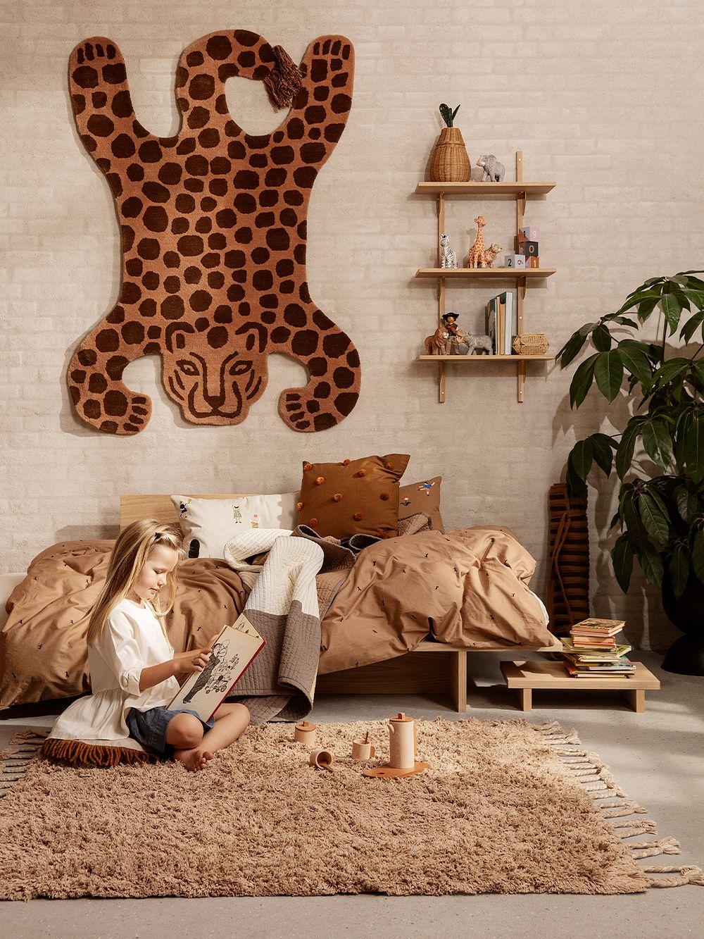 Ferm Living Amass long pile rug, 140 x 140 cm, white pepper