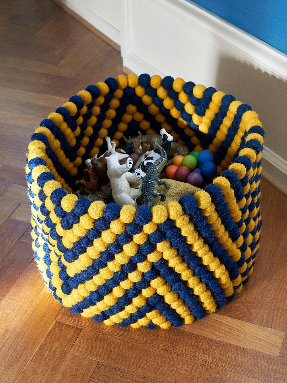 HAY Bead basket, 40 cm, yellow chevron