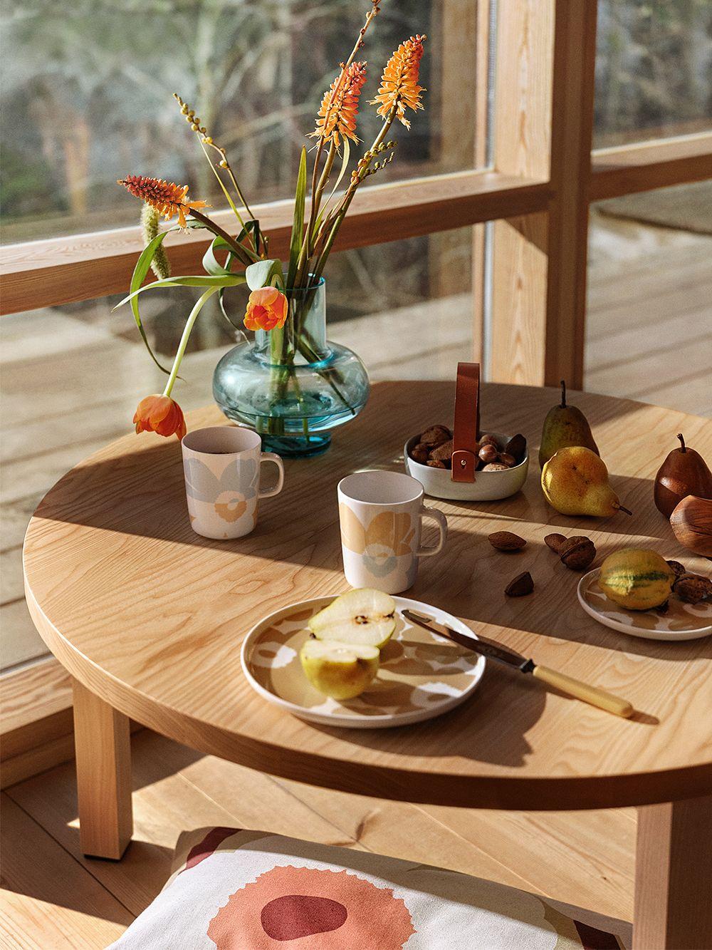 Marimekko Oiva - Unikko mug 2,5 dl, 2 pcs, white - beige - aqua