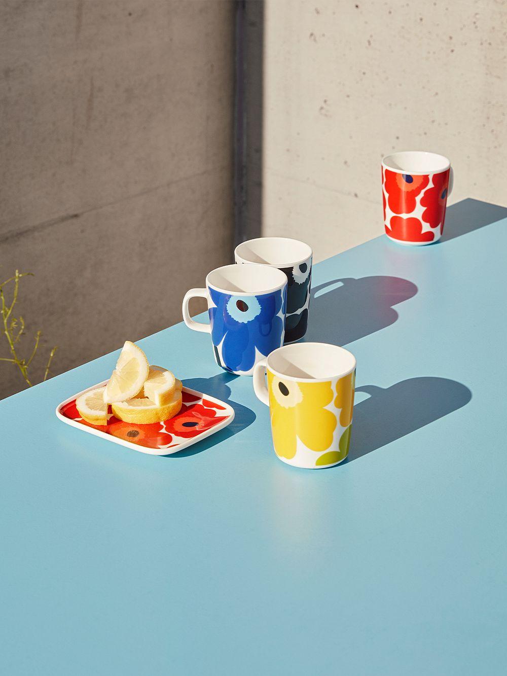 Marimekko Oiva - Unikko mug 2,5 dl, white - lime