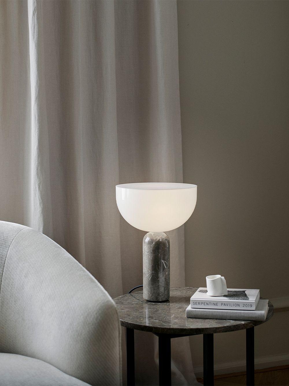 New Works Kizu table lamp, small, white marble