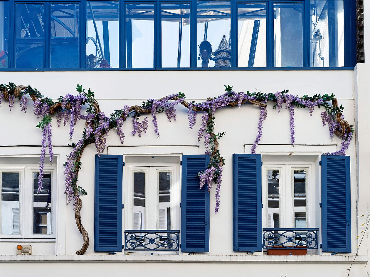 Blue and white building in Montmartre, Paris