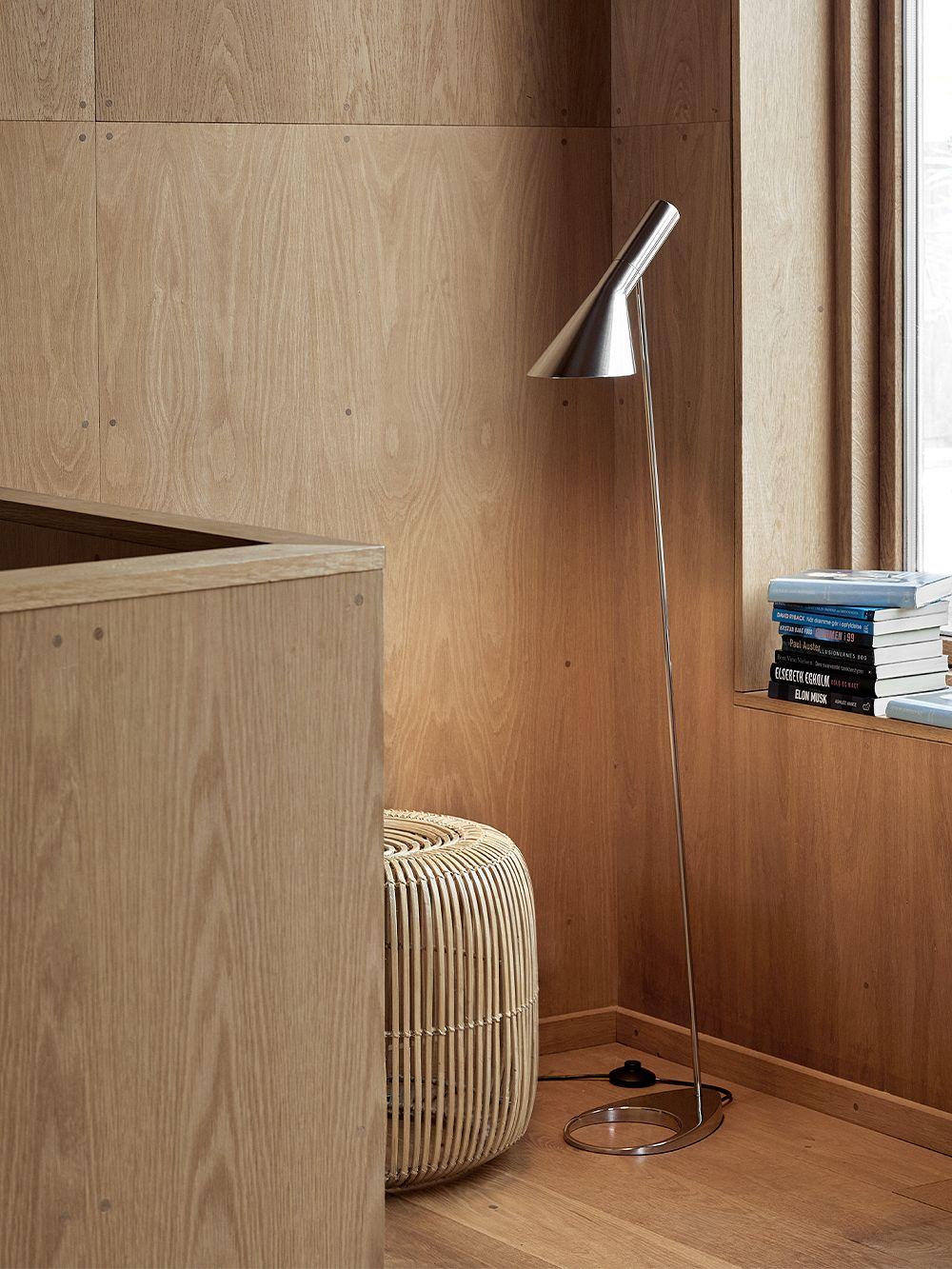 Louis Poulsen AJ floor lamp, polished stainless steel