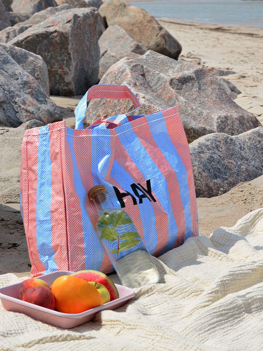 HAY Candy Stripe shopper M, blue - orange