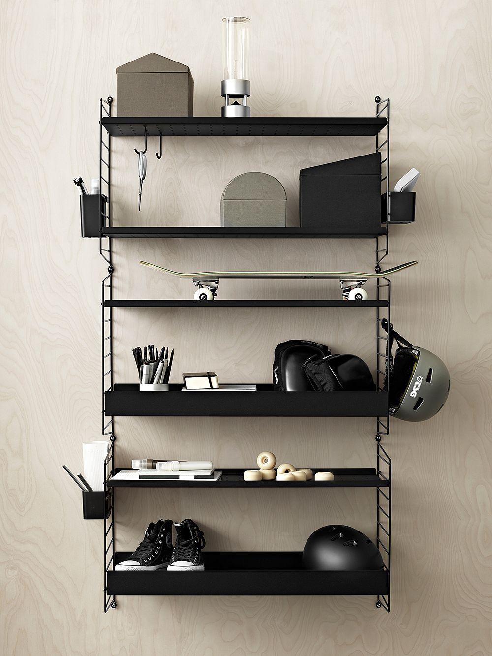 String Furniture String metal shelf, black