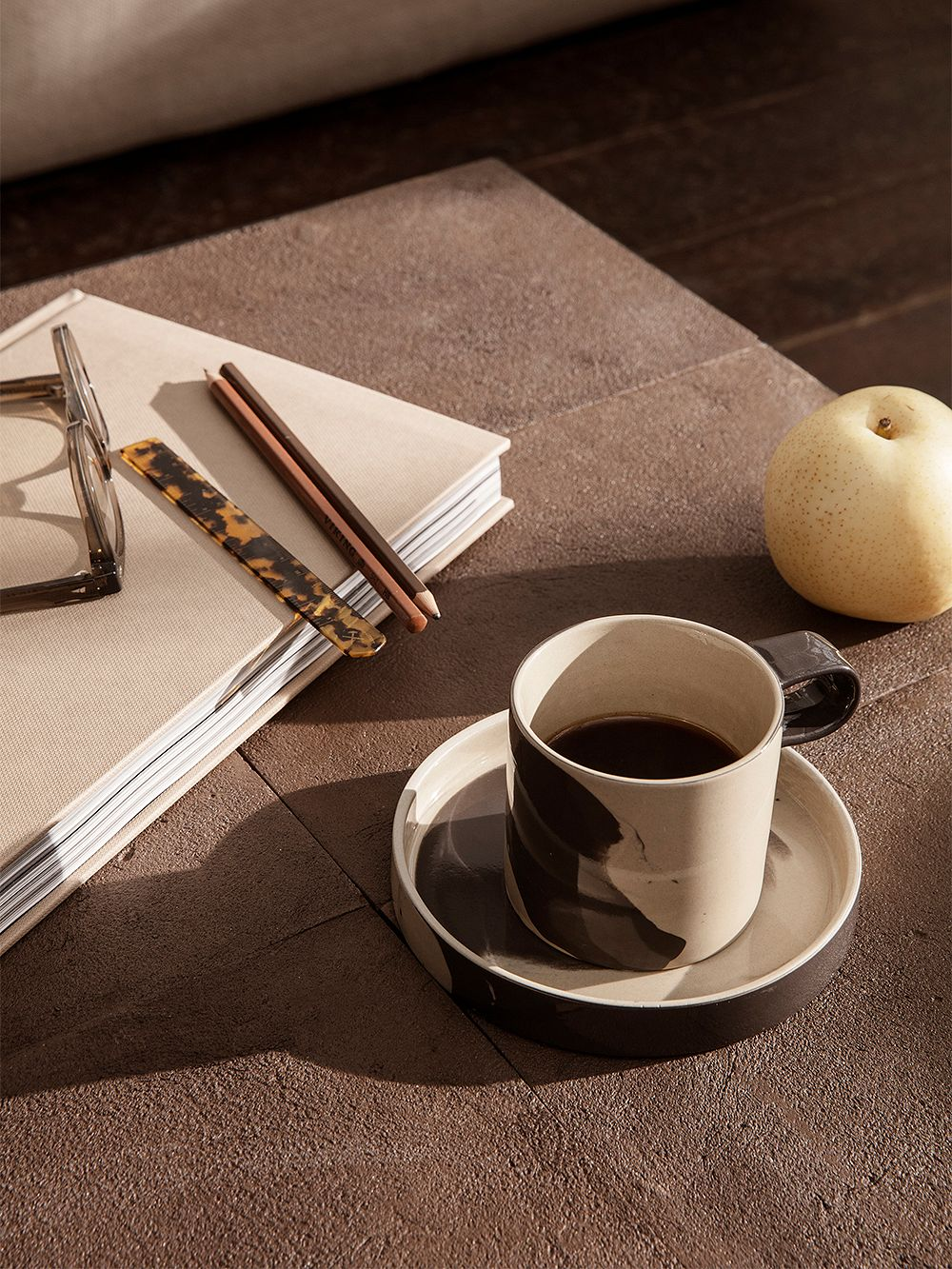 Ferm Living Inlay cup with saucer, sand - brown