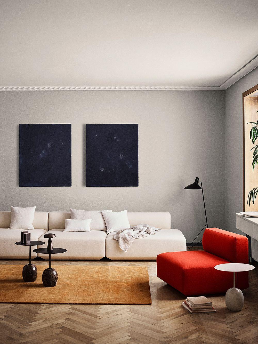 &Tradition Develius sofa, Lato coffee table and Tripod floor light