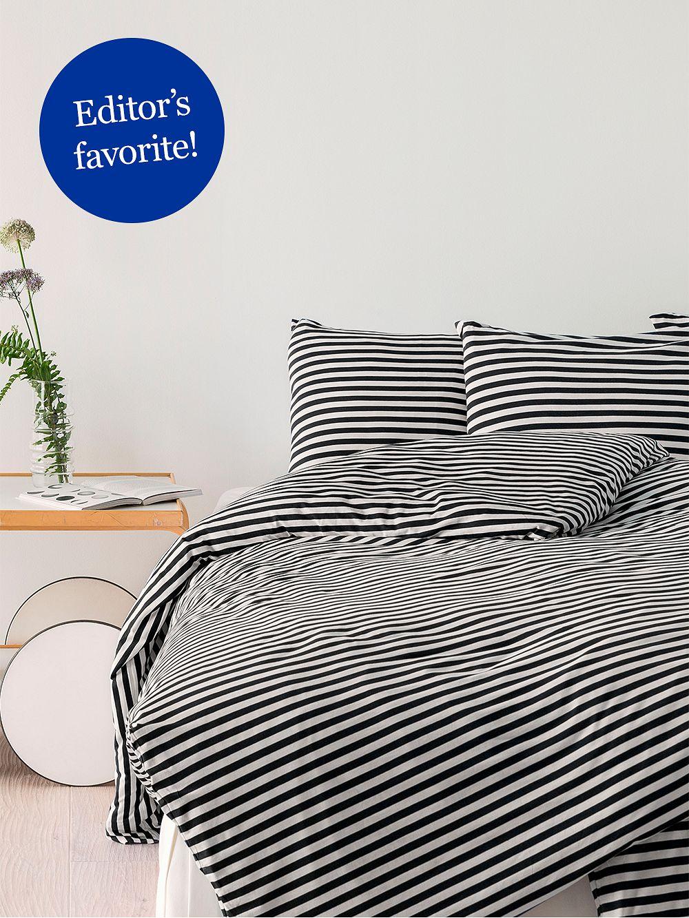 Marimekko Tasaraita duvet cover 150 x 210 cm, black - white