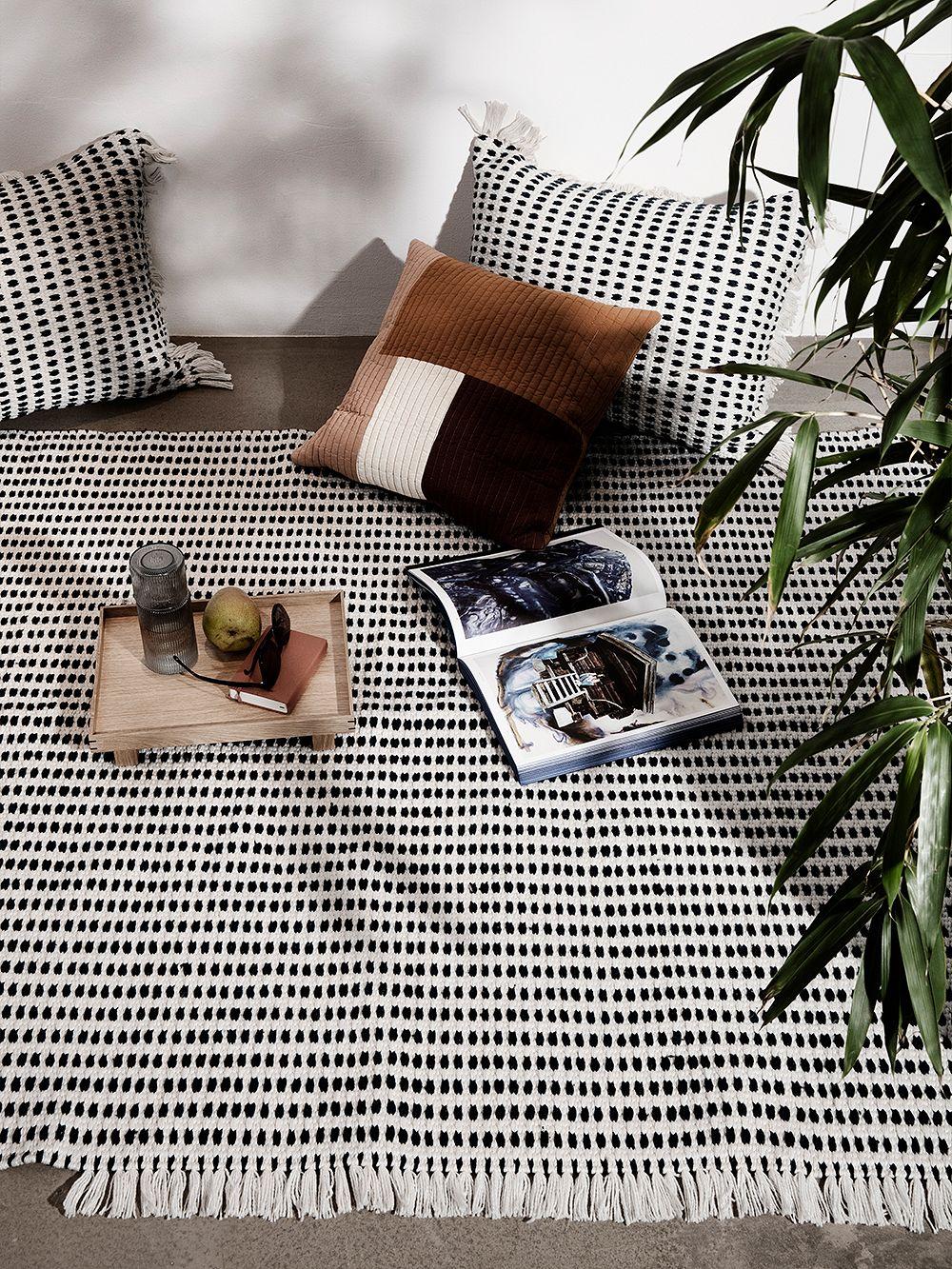 Ferm Living Way cushion, off white - dark blue