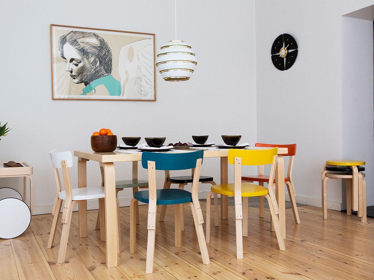 Artek Aalto chair 69, birch - petrol