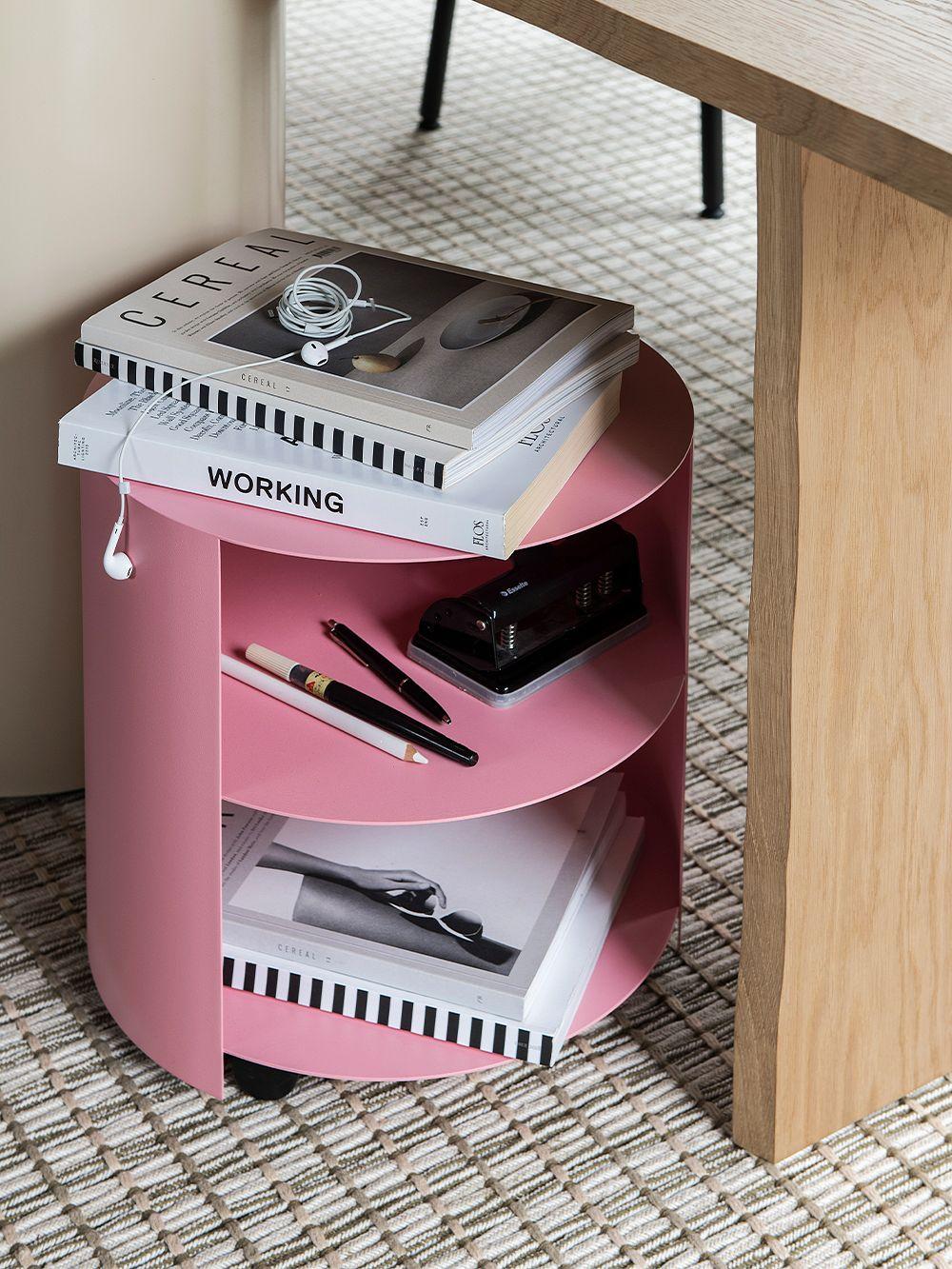 Hem Hide side table, light pink