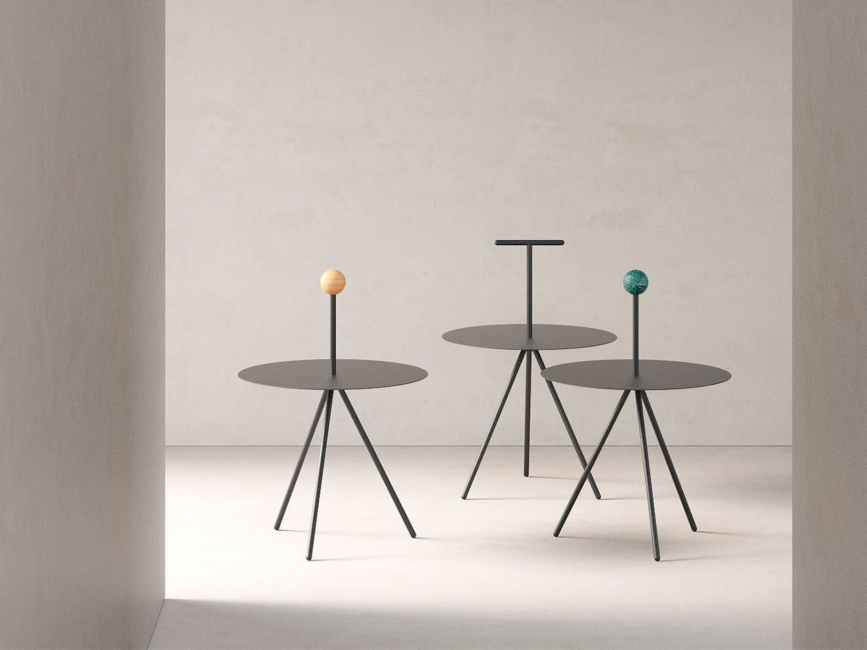 Viccarbe Trino table, black - green marble handle