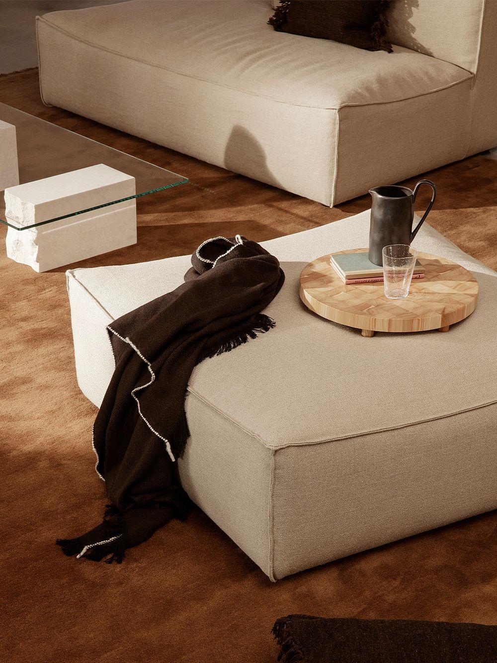 Ferm Living Herringbone blanket, dark coffee