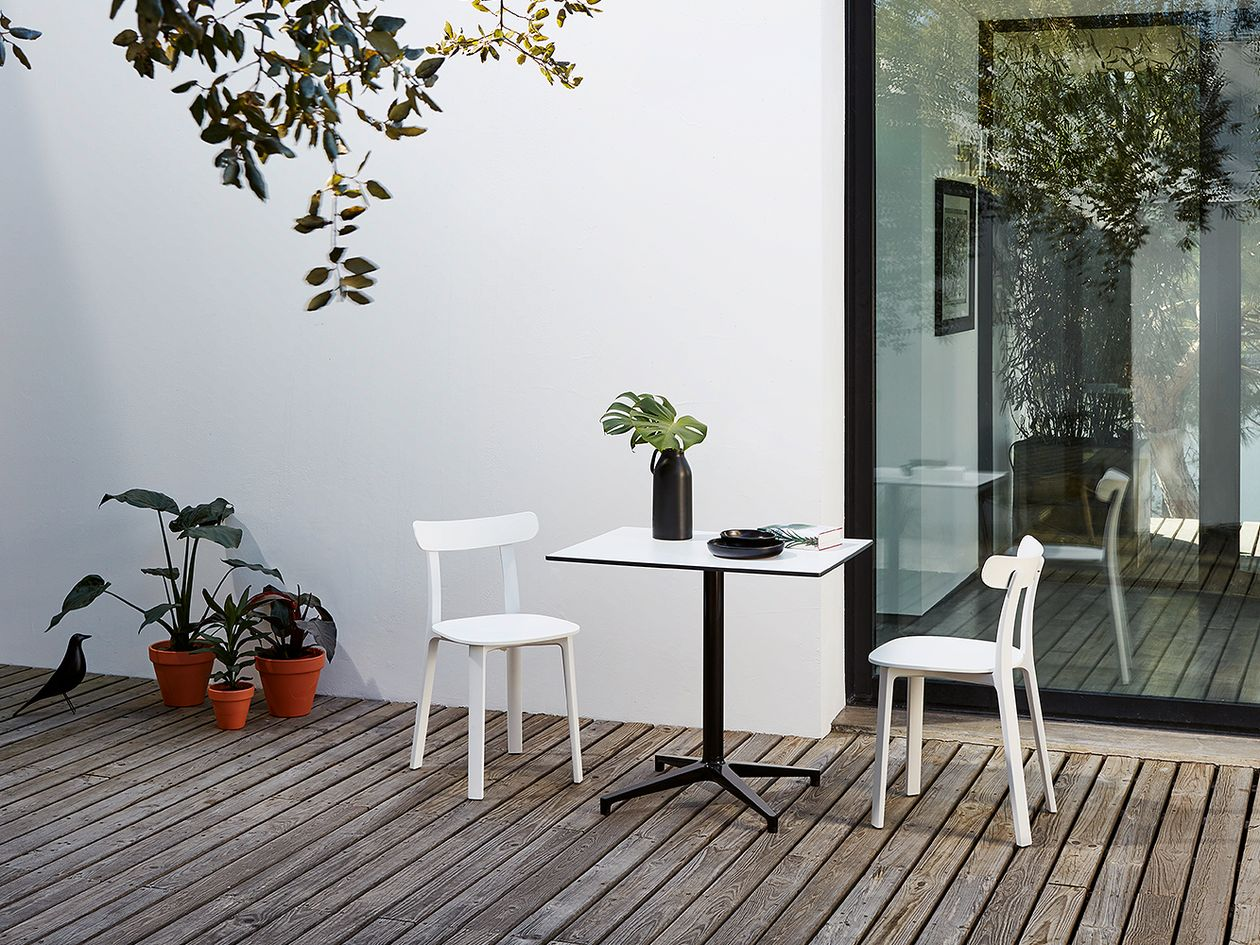 Vitra's white All Plastic Chairs