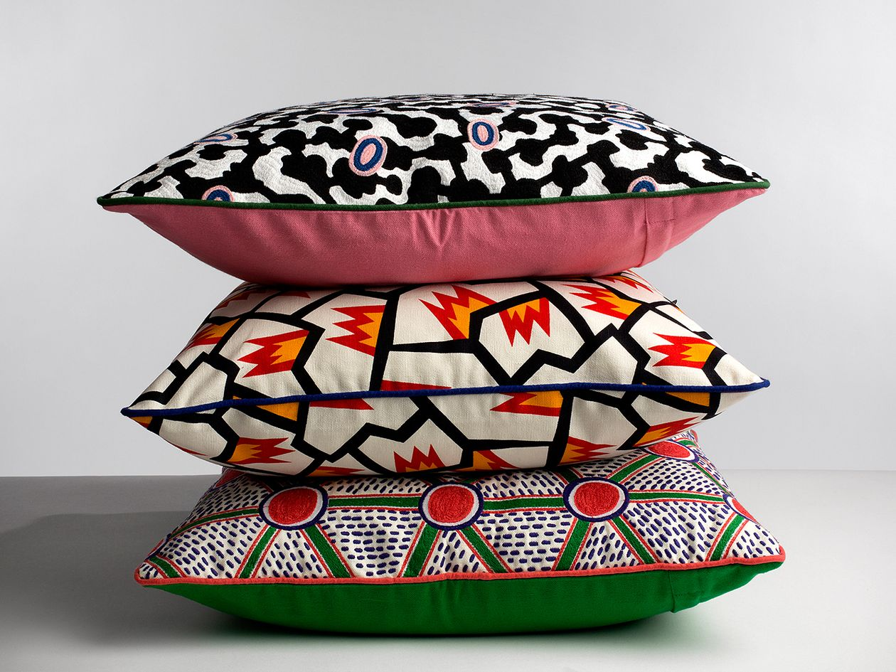 Hay's broidered cushions