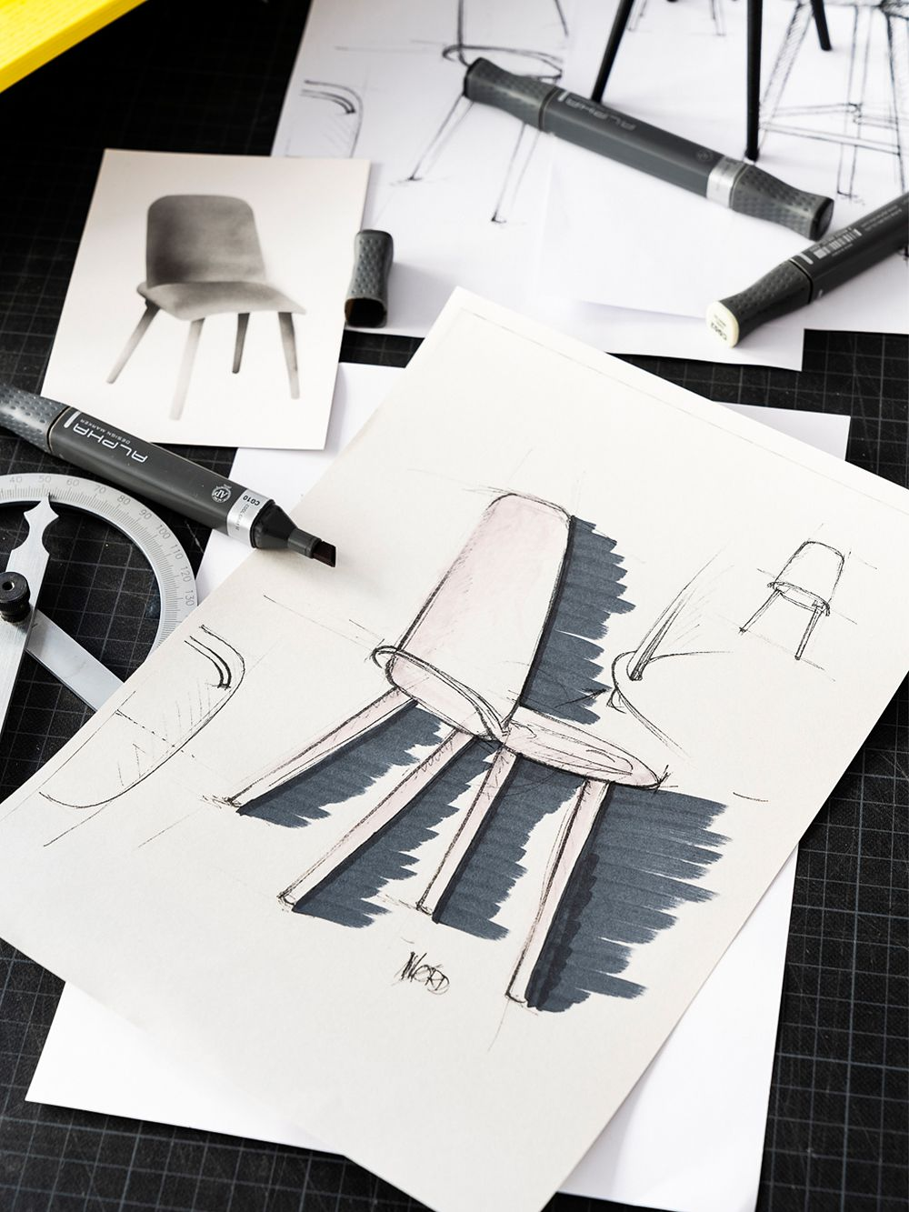 Technical drawings of Muuto's Nerd Chair.