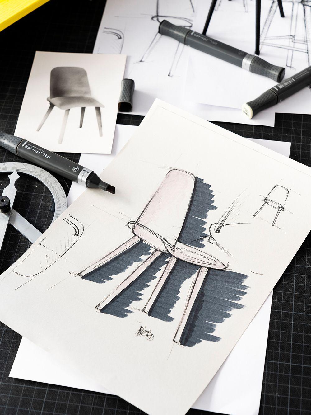 Teknisiä piirustuksia Muuton Nerd-tuolista.