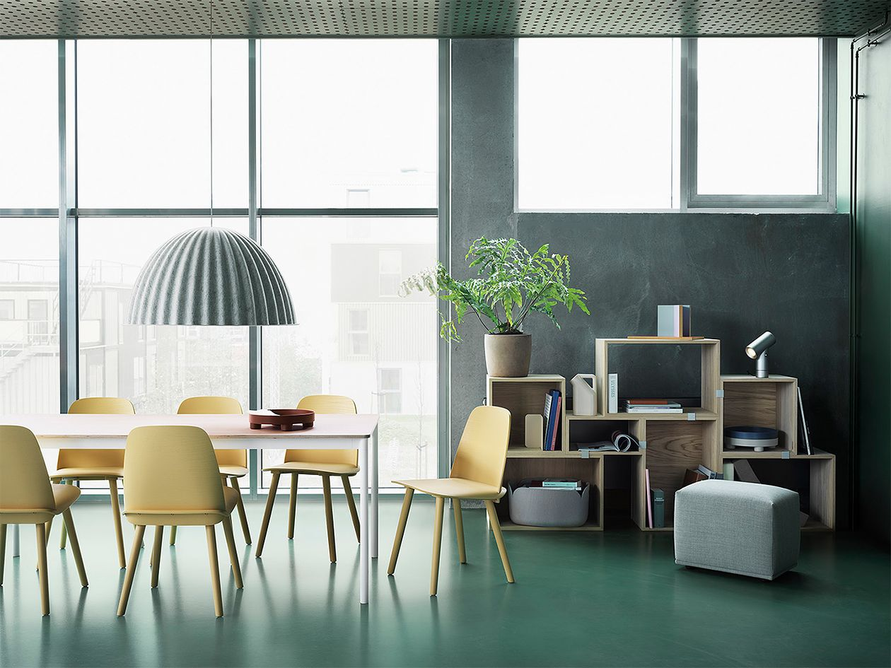 Muuto's Nerd chairs around a dining table.