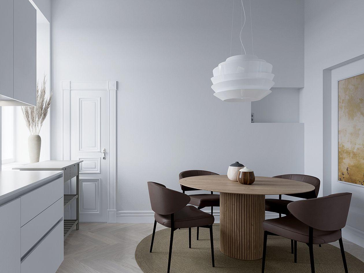 Foscarini Le Soleil pendant light and Asplund Palais Royal dining table