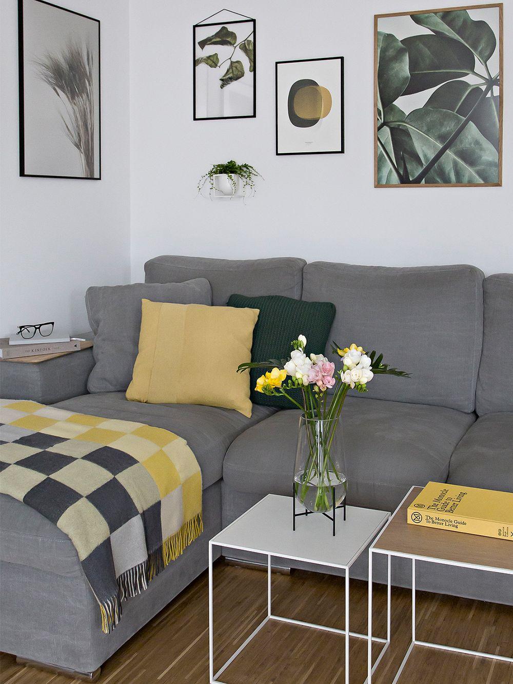 The yellow Layer cushion by Muuto