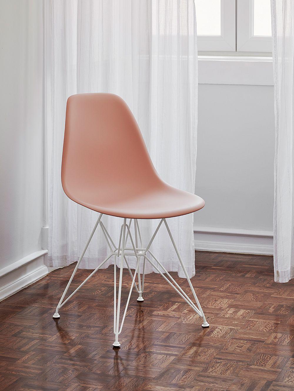 Vitra Eames DSR chair, pale rose - white