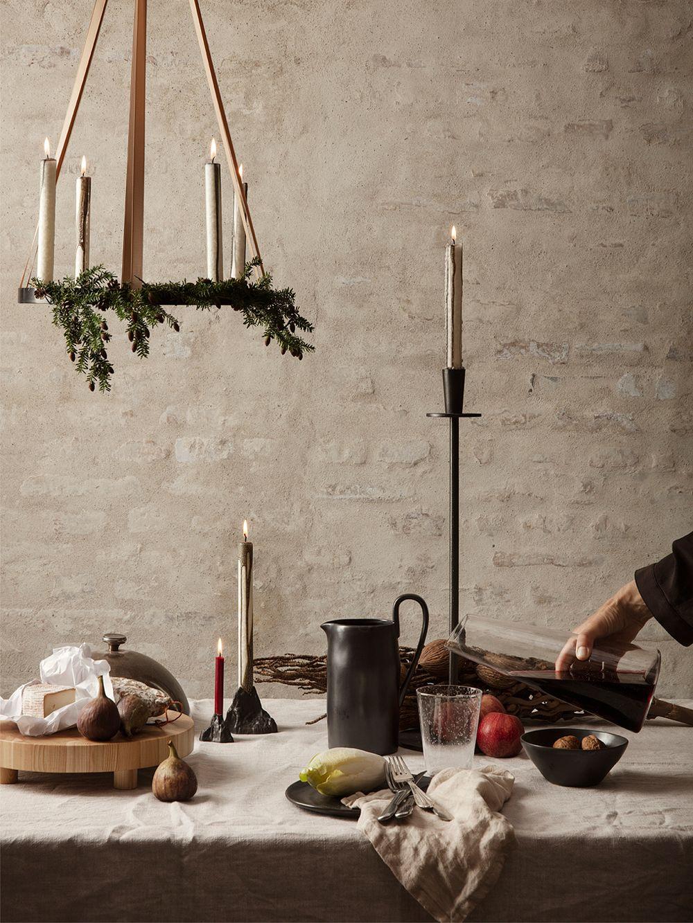 Ferm Living Circle candleholder, black brass