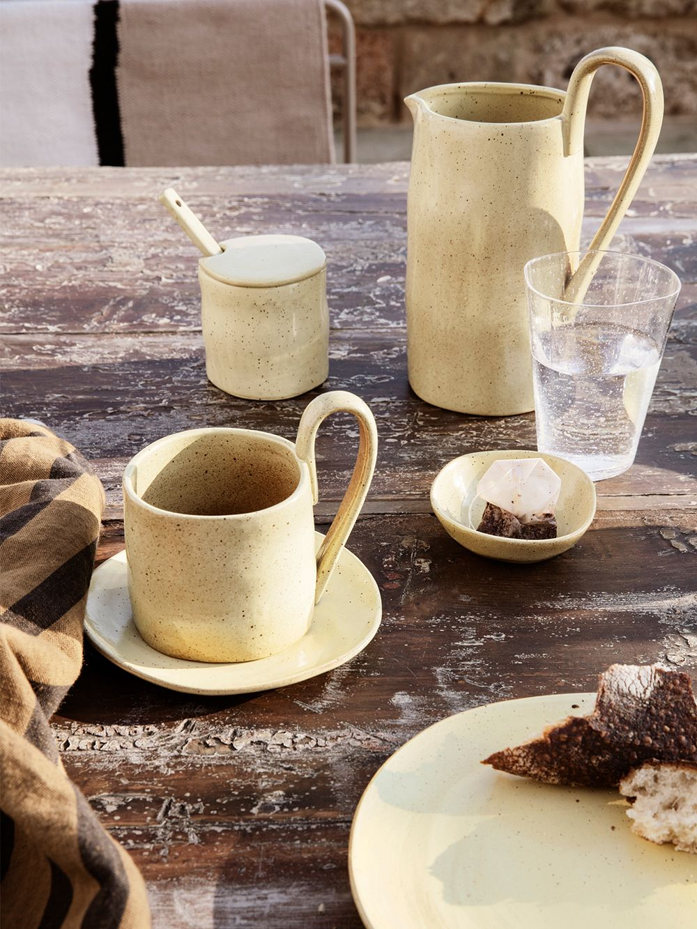 Ferm Living's Flow tableware on a table.