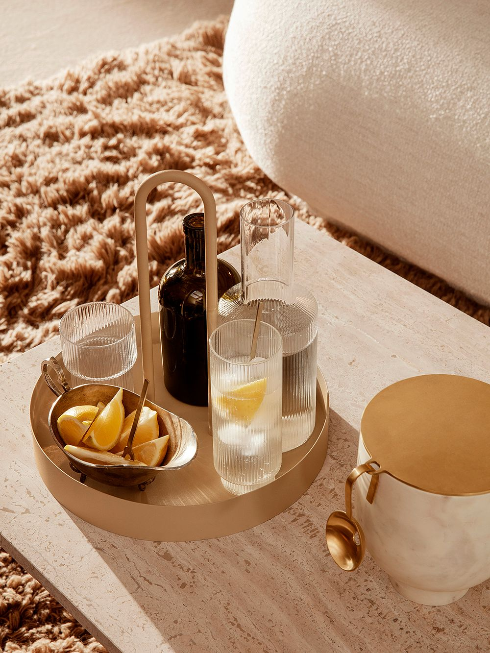 Ferm Living's Ripple carafe and glasses