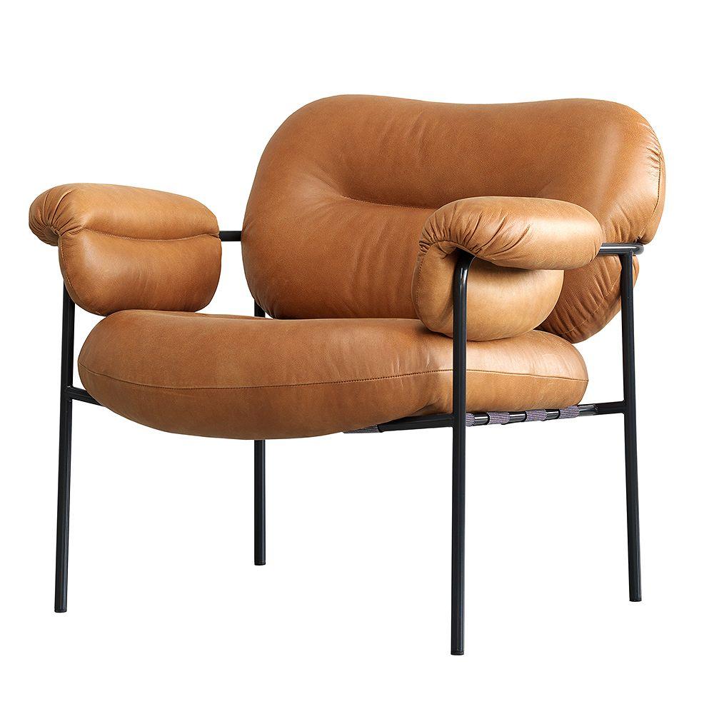 Fogia Bollo lounge chair, cognac leather - black