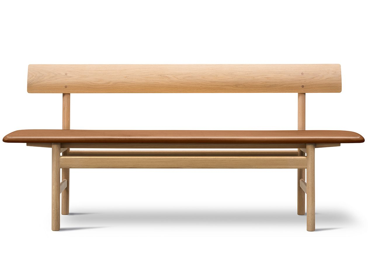 Mogensen 3171 bench, cognac leather
