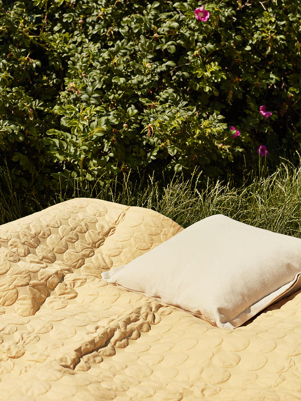Hay Mega Dot bed cover in soft yellow