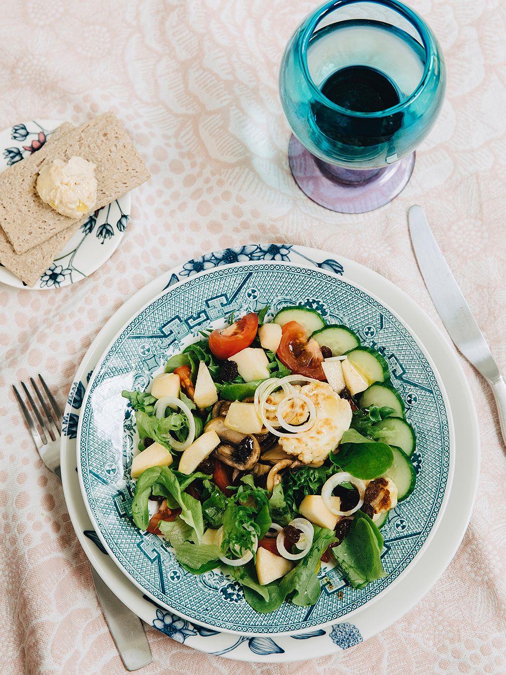 Ceramic artist Heini Riitahuhta's halloumi and mushroom salad