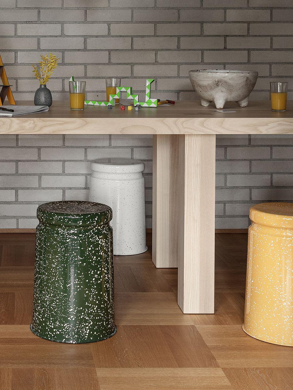 Hem Last stool, green - pink splatter