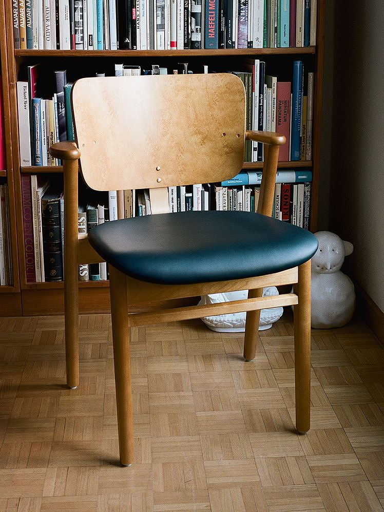 The Domus chair upholstered with leather