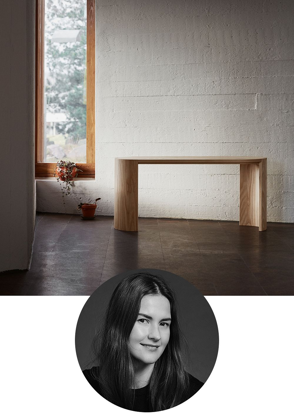 Designer Joanna Laajisto and the Airisto seat designed by her and manufactured by Made by Choice.