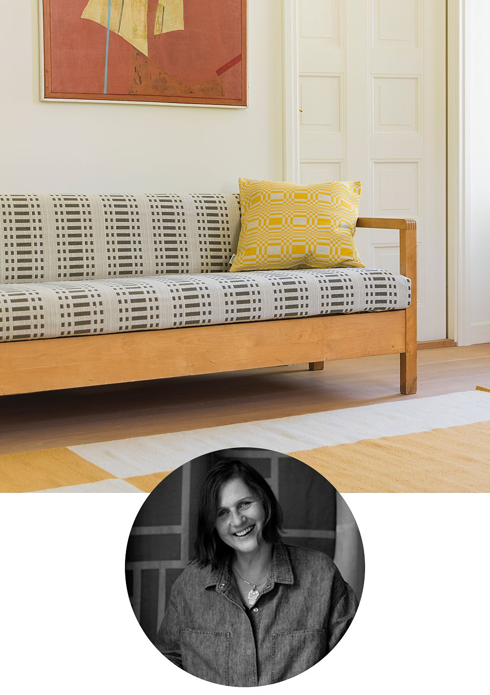 Designer Johanna Gullichsen featuring a couch upholstered in woven fabric designed by her.