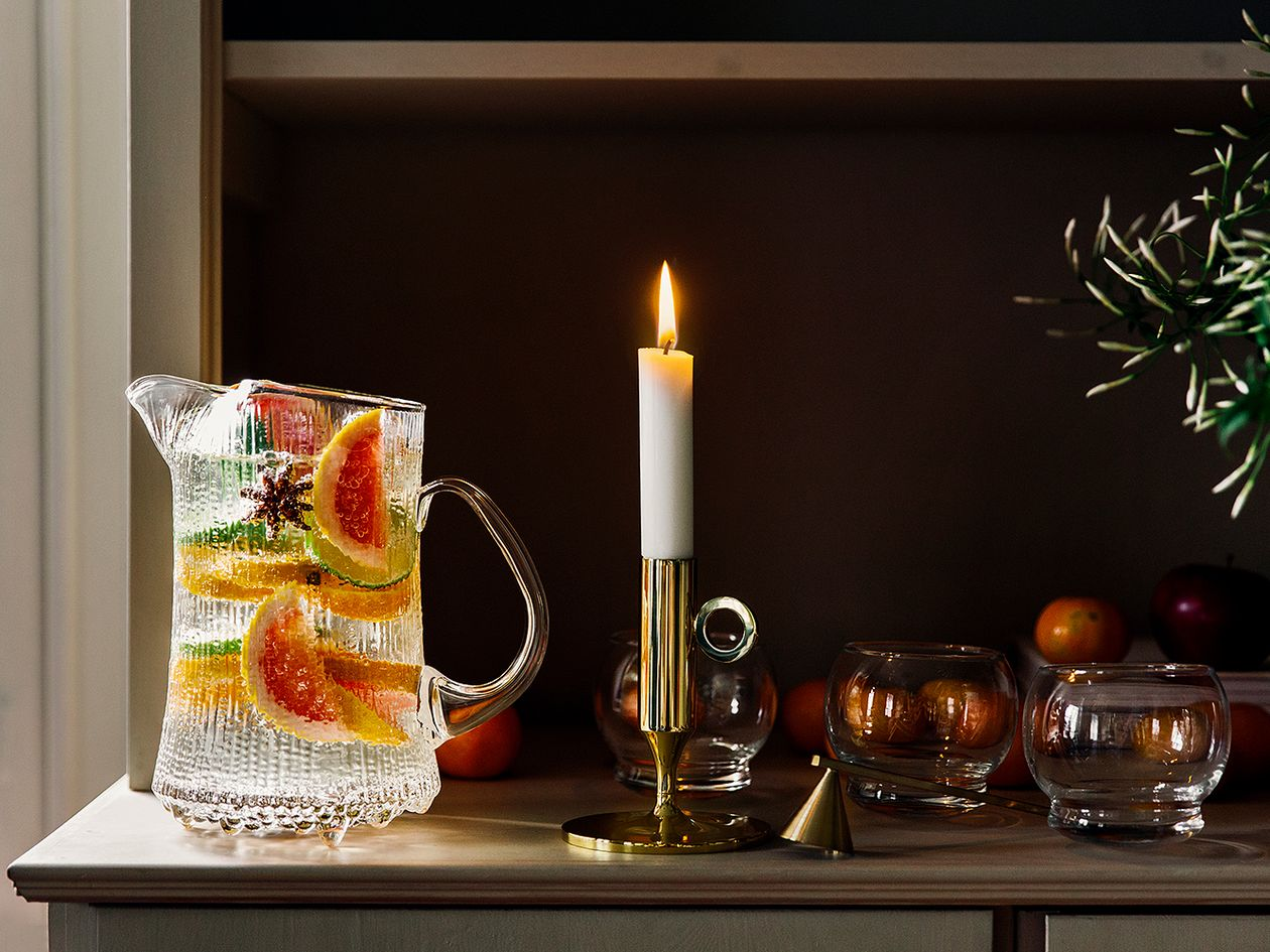 Pale citrus sangria in Iittala's Ultima Thule pitcher