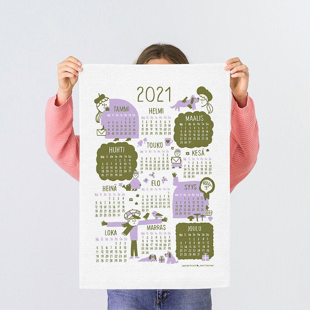 Kauniste Calendar 2021 tea towel, lilac