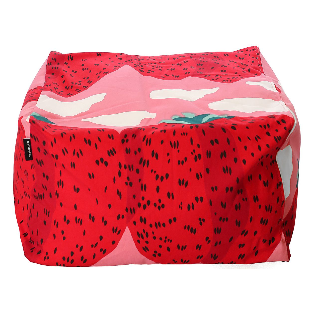 Marimekko Mansikkavuoret Puffi pouf, light pink - red