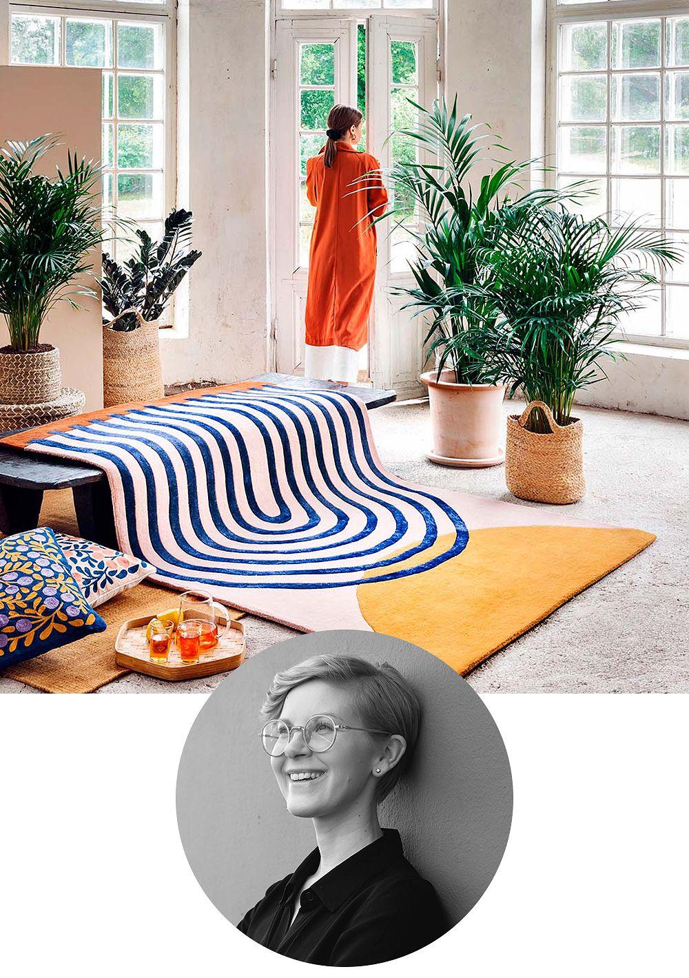 Designer Marianne Huotari featuring the Atrium rug she has designed for Finarte.