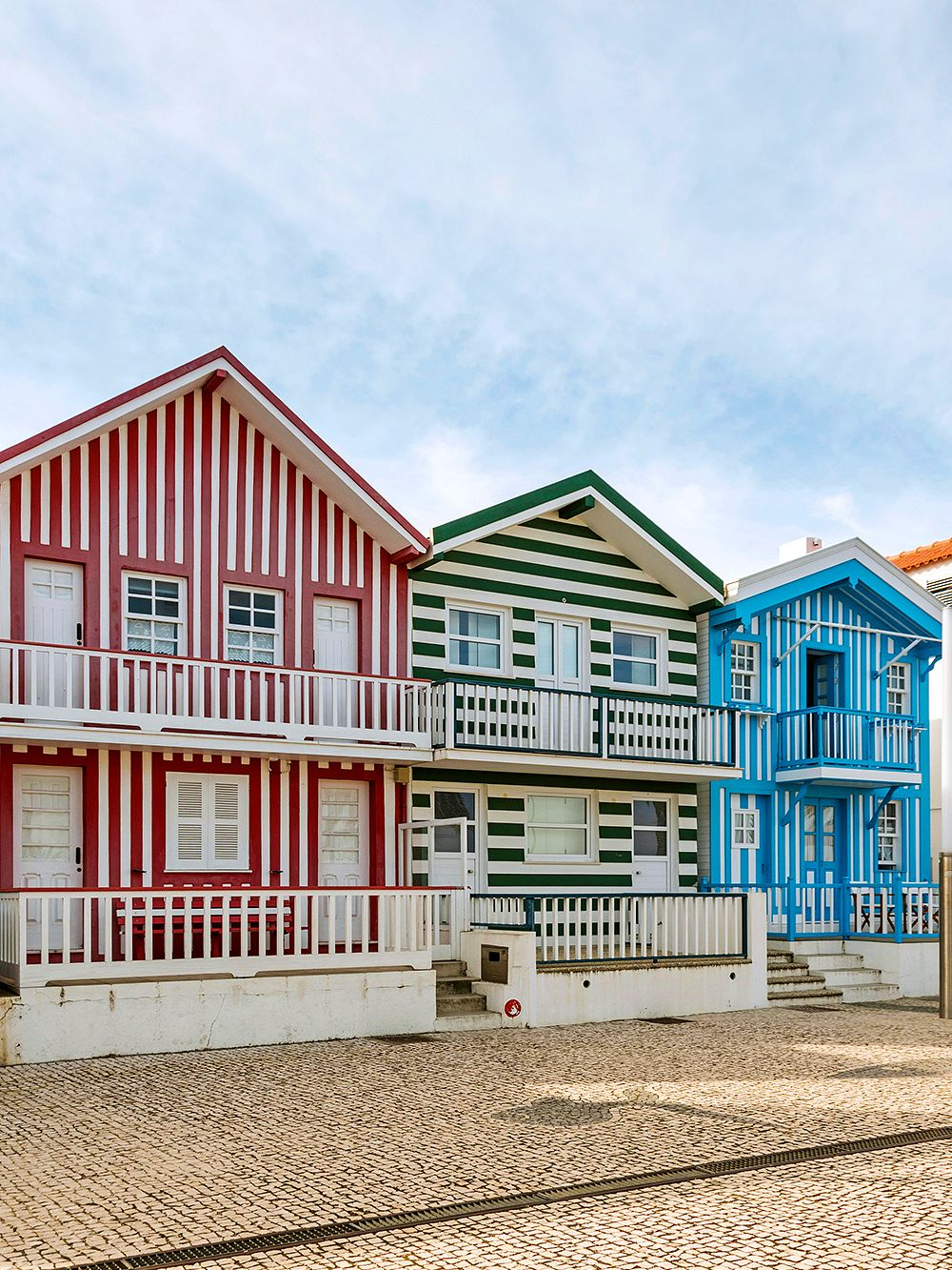 Striped houses in Costa Nova, Portugal