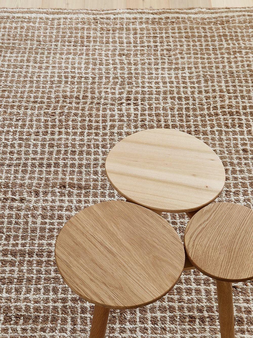 Nikari July stool and Woodnotes Uni Grid rug