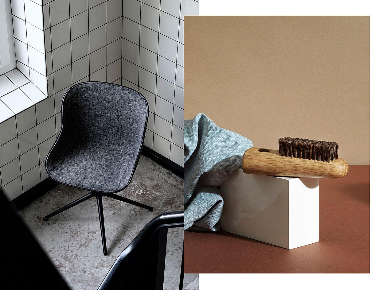 Normann Copenhagen Hyg chair and Nift brush