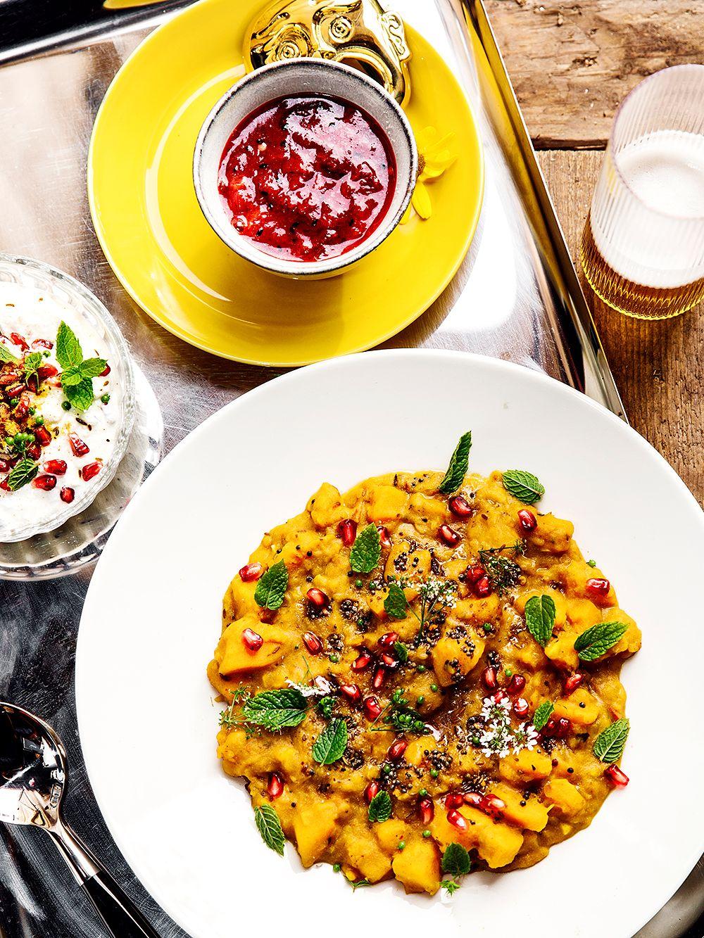 Pumpkin curry, plum chutney and pomegranate raita