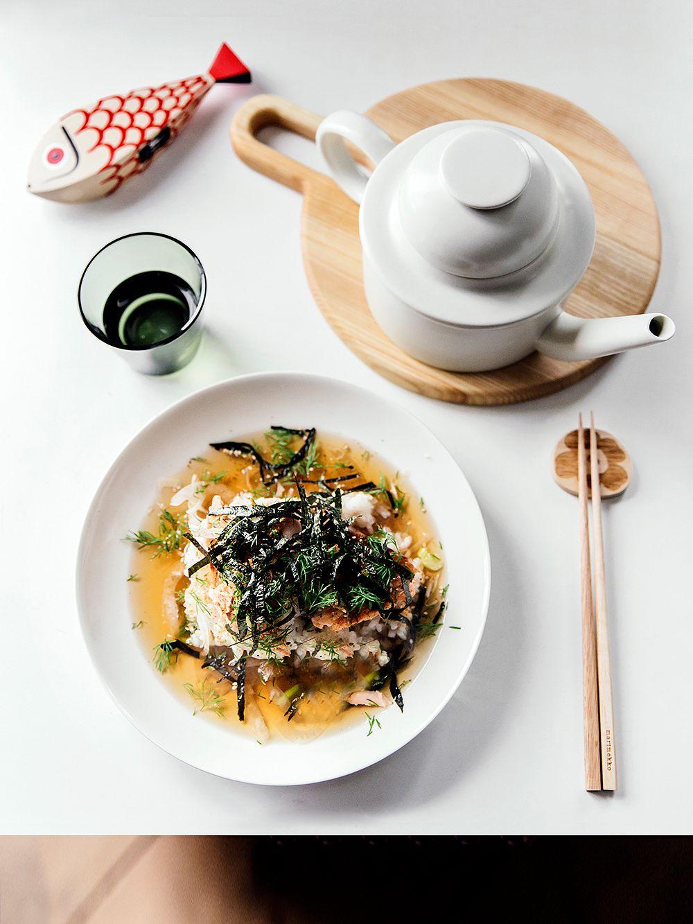 Ochazuke with dill and salmon